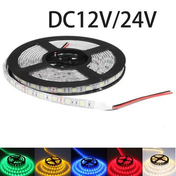 DC12V DC24V LED strip light SMD 5050 DC 12V 60led/M LED Lighting flexible led ribbon waterproof diode tape LED lights