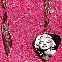 Marilyn Monroe Sexy Pose Dangle Guitar Pick Earrings (FREE USA SHIPPING)