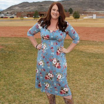 Blue Floral Midi Dress - Curvy