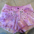 Womens Lee high waisted Vintage Distressed purple ombre studded Denim Jean Shorts Sz 8