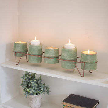 Set of 5 Green Clay Candle Holders with Copper Finish Base