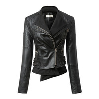 Black Long-Sleeve Hoodie Leather Jacket
