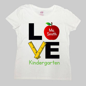 Teacher Gifts For Back To School Shirt Kindergarten T Shirt Teacher Appreciation Personalized Name Custom Apple TShirt Mens Ladies - SA974
