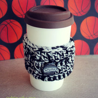 Spurs Coffee Sleeve - Crocheted - With Metal Button - Black and Silver