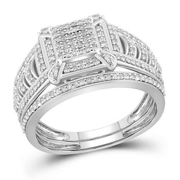 10kt White Gold Womens Diamond Square Cluster Bridal Wedding Engagement Ring Band Set 1-2 Cttw