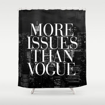 More Issues Than Vogue Black and White NYC Manhattan Skyline Shower Curtain by RexLambo