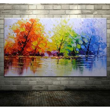 Handpainted Color Tree Knife Modern Oil Painting On Canvas Wall Decor Wall Art Wall Pictures For Living Room Home Decor