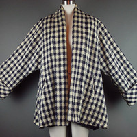 50s Swing Coat Vintage 1950s Short Blue Cream Check Plaid Tweed Clutch Bell Sleeve L