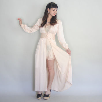 Vintage SILK CHARMEUSE Robe | 70s does 40s Glamorous Embroidered Full Length Peignoir | s/m