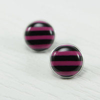 Pink and Black Stud Earrings 20mm - Pink Striped Stud Earrings - Black Stripes Post Earring - Striped Jewelry - Studs - Stainless Steel Post