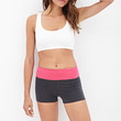 FOREVER 21 Colorblocked Yoga Shorts Charcoal/Berry