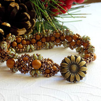 Khaki Bracelet Cuff Beaded Bracelet Earthy Seed Bead Jewelry Autumn Jewelry Gift for Women