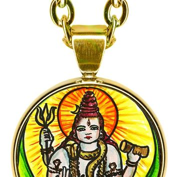 "Lord Shiva of Supreme Consciousness 5/8"" Mini Stainless Steel Pendant with Chain"