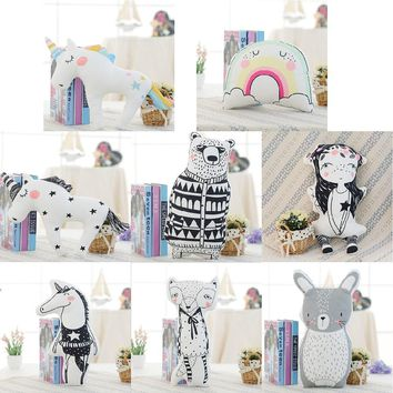 Cute Animals Unicorn Fox Rabbit Bear Cushion Pillow Baby Bed Decor Photo Props Child Calm Sleep Doll Nordic Kids Room Decoration