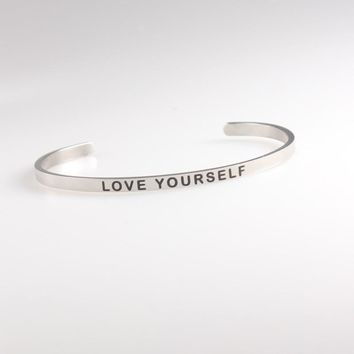 316L Titanium Stainless Steel Mantra Bracelets Inspirational Quotes LOVE YOURSELF Bracelets/Bangle Custom Jewelry