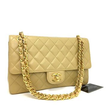 Vintage CHANEL Double Flap 25 Quilted CC Logo Lambskin Chain Shoulder Bag/qDCI x