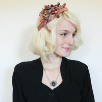 50s vintage fascinator / fall mid century / rockabilly retro / brown fall hat / hair accessory