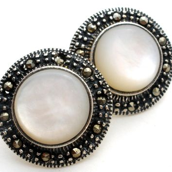 Mother of Pearl & Marcasite 925 Earrings