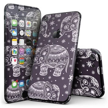 Purple Sacred Elephant Pattern - 4-Piece Skin Kit for the iPhone 7 or 7 Plus