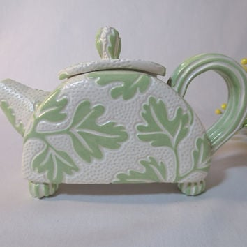 Ceramic Teapot with Green Leaf Pattern