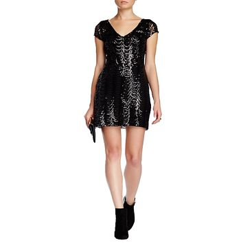 V-Neck Sequin A-Line Dress
