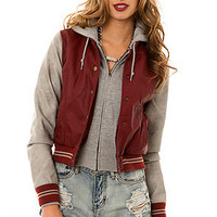 Obey Jacket Varsity Lover in Burgundy Gray