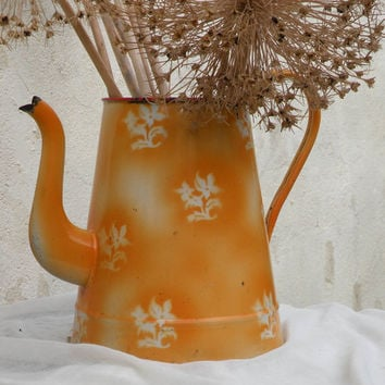 French enamelware coffeepot large in orange and white, enamel pot, Orange coffee pot, Country home, French farmhouse, French enamelware