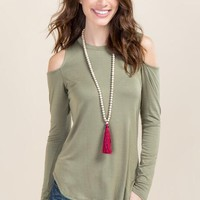 Marsha Cold Shoulder Scoop Neck Top