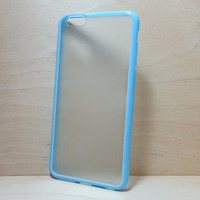 Silicone Bumper and Translucent Frosted Hard Plastic Back Case for iPhone 6 Plus (5.5 inches) - Light Blue