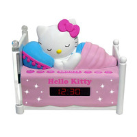 Hello Kitty KT2052A Alarm Clock Radio Sleeping Kitty W/Night Light