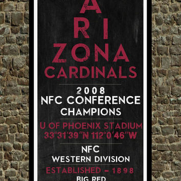 Arizona Cardinals - Eye Chart chalkboard print - sports, football, gift for fathers day, subway sign - Eyechart wall art