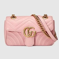 Gucci Trending Women Metal GG Buckle Leather Satchel Shoulder Bag Crossbody Pink I