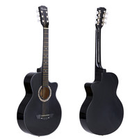 "Black 38"" Acoustic Folk 6-String Guitar for Beginners Students Gift"