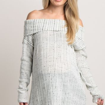 Grey Foldover Off Shoulder Knit Maternity Sweater