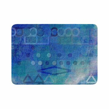 "Mimulux Patricia No ""Hieroglyphic"" Blue Digital Abstract Memory Foam Bath Mat"