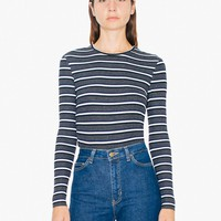 Striped 2x1 Rib Crewneck Long Sleeve Top | American Apparel