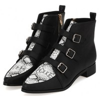 Black White Snake Leather Point Head Metal Buckle Straps Punk Rock Ankle Boots