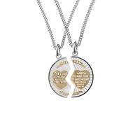 "Sterling Silver Two-Tone Round Mizpah Pendant Necklace with Stainless Steel Chains, 20"" and  24"""