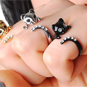 VALENTINE's day SALE- Buy 2 Get 1 Free & 15% Coupon Code for all Shop items - Only This Week - Beautiful Swarovski Crystal Cat Ring
