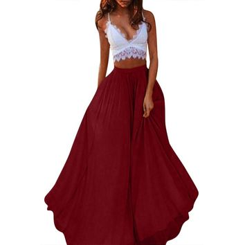 Casual simple color women skirt Elastic chiffon high waist long skirt Elegant transparent sexy summer beach maxi skirts 2019
