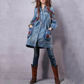 Button Front Bohemian Denim Dress
