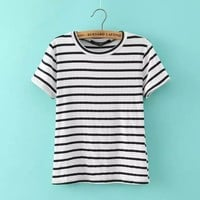 Round-neck Stripes Short Sleeve Casual T-shirts [6047586945]