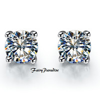 925 Silver Total 4 Ct (size: 8mm each) Round Cut lab made Diamond Studs, Basket Set earrings Wedding earrings with gift box