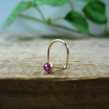 Nose Stud Screw Hook Pink Tourmaline Gold