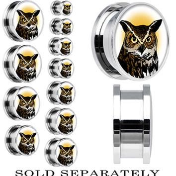 Brown Horned Owl Screw Fit Plug in Stainless Steel | Body Candy Body Jewelry