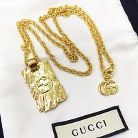 GUCCI New fashion letter square pendant couple necklace Golden