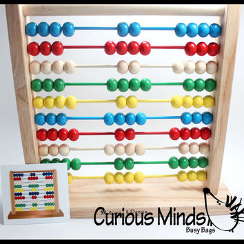 Wood Abacus with Pattern Cards - Educational, Montessori, OT - Learning Toy, Toddler Toy, Learning Game, Educational