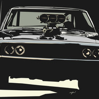 FAST AND THE FUROUS DODGE CHARGER Art Print by MATT WARING