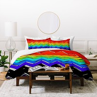 Sharon Turner Rainbow Chevron Duvet Cover