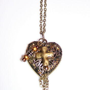 Antiqued Brass Locket With Cross Charm Filigree Locket Diffuser Necklace Cross Charm 18 Inch Chain Essential Personal Diffuser Locket